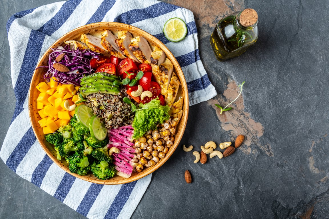 Bowl of healthy vegetables and chicken