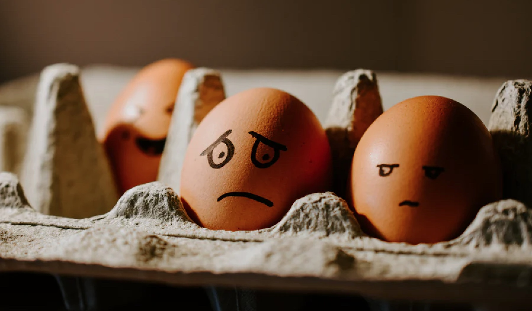 Eggs with worried face