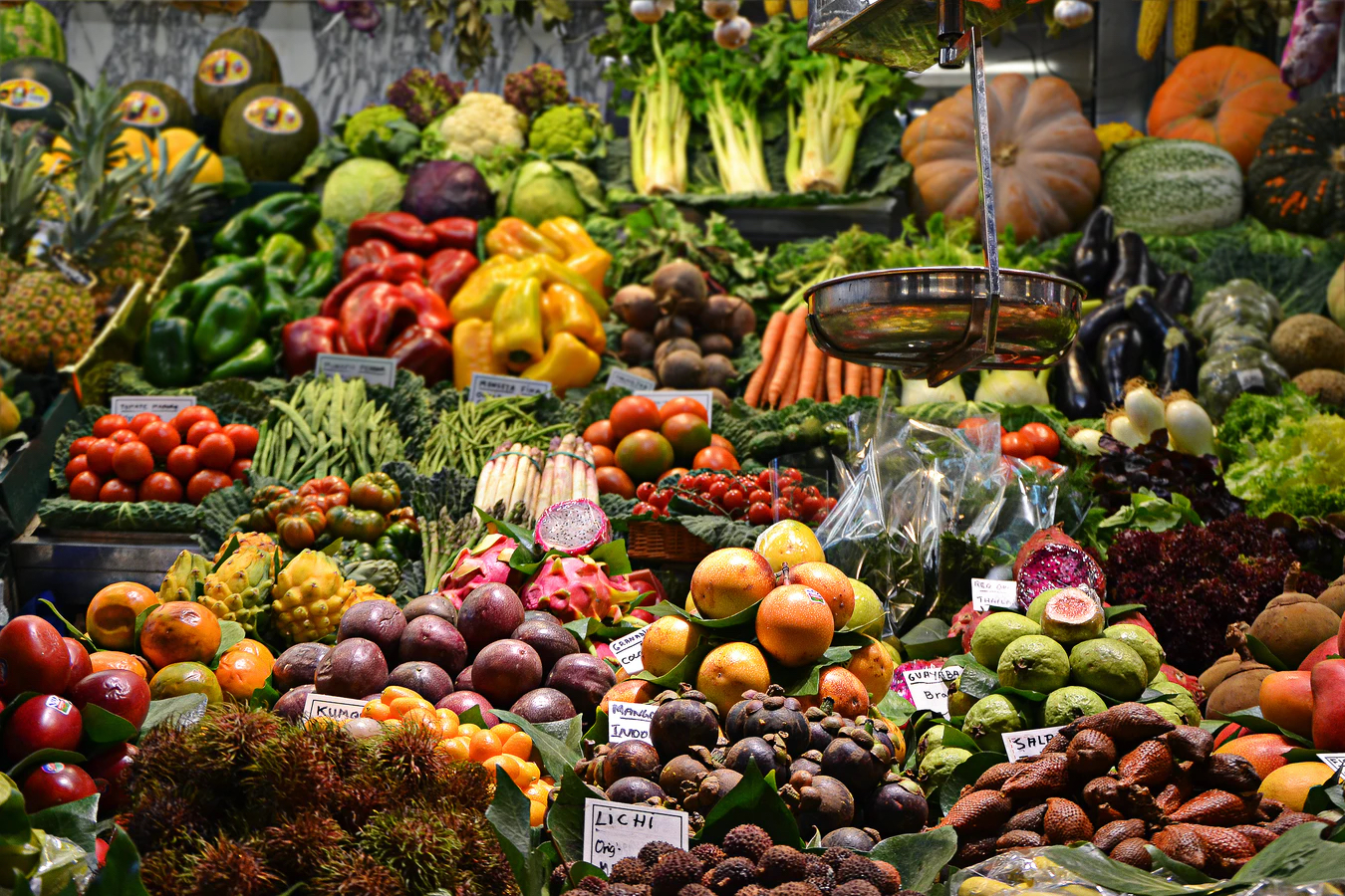 Market stall with fruits & vegetables